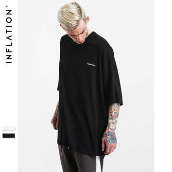 New Arrivals  Oversize T-shirt Fog Longline Ribbon T shirt White/Black Loose Fit Extended T Shirts Couple Tshirt