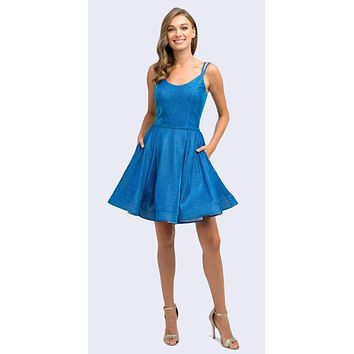 Short Party Dress Royal Glitter Double Straps Fit Flare Side Pockets