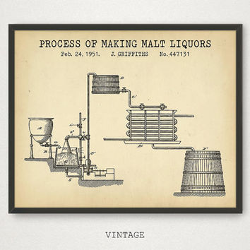 Malt Liquor Patent, Ale Drink, Brewing Patent, Beer Making Inventions, Alcoholic Beverage Poster, Beer Print, Liquor Art, Beer Blueprint