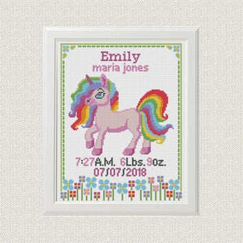 Baby Cross Stitch pattern birth announcement Unicorn Flower Birth sampler personalized unique gift birth record new baby girl , baby shower