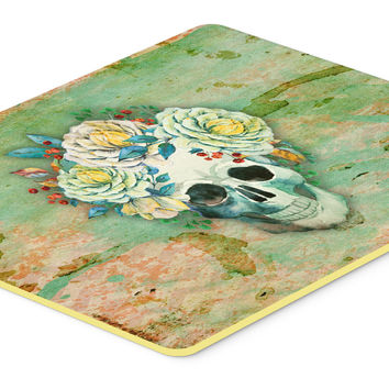 Day of the Dead Skull with Flowers Kitchen or Bath Mat 24x36 BB5124JCMT