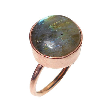 Labradorite Ring, Stacking Ring, Bezel Set Ring, Gemstone Ring, Gold Ring, Wedding Gifts, Birthstone Ring, Handmade Ring, Gold Plated Ring