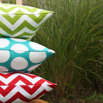 Red Blue and Green Pillow Cover Trio by nest2impress on Etsy