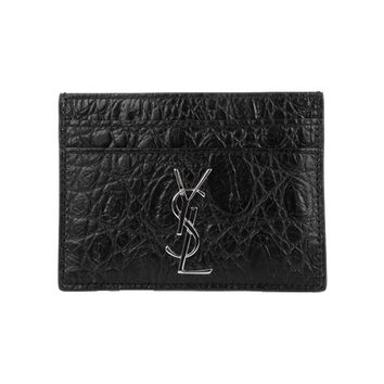 Saint Laurent YSL Unisex Black Crocodile Print Credit Card Case 423303