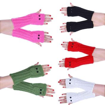 Fashion Hand Wrist Warmer Winter Fingerless Gloves Knitted Arm Owl Winter Gloves Soft Warm Mitten #LYW