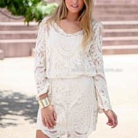 LACE MOMENT DRESS , DRESSES, TOPS, BOTTOMS, JACKETS & JUMPERS, ACCESSORIES, 50% OFF SALE, PRE ORDER, NEW ARRIVALS, PLAYSUIT, COLOUR, GIFT VOUCHER,,White,LACE,LONG SLEEVES Australia, Queensland, Brisbane