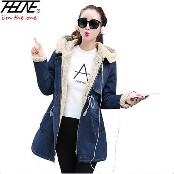 2018 Winter Denim Coat Women Jeans Jackets Warm Hooded Fleece Solid Outwear Overcoat Female Denim Jacket Jean Coats Women Parka