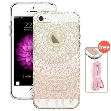 iPhone 5s, 5s Case, iPhone 5s Case, iPhone 5s Case Clear with Mint Henna,ESR Integrated Hybrid Case [Slim Fit] TPU Bumper +Hard PC shell [Totem Series] Protective Case for iPhone 5s/5(Mint Mandala)