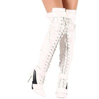 Women's White & Black Thigh High Lace Up Stiletto Boots