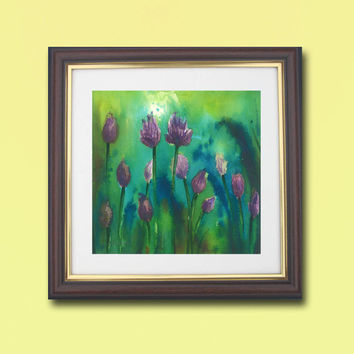 Turquoise Green Landscape Water flowers, Print of  Watercolor Painting, Vibrant color Fine Art  Wall & Home decor