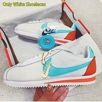 NIKE Classic Cortez Women Leisure Sport Running Shoes Sneakers White&Blue&Orange(Only White Shoelaces)