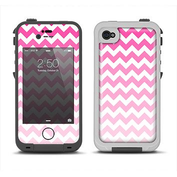 The Pink & White Ombre Chevron Pattern Apple iPhone 4-4s LifeProof Fre Case Skin Set