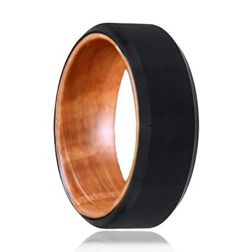 SALEEN Men's Black Beveled Tungsten Wedding Band with Whisky Barrel Wooden Inside
