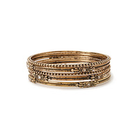 Engraved Rhinestone Bangle Set