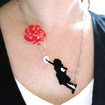 Silhouette Necklace Girl with Red Balloons Whimsical Sky Black