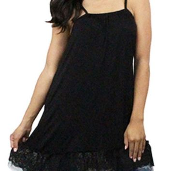 Black Cami Lace Shirt/Skirt Extender with Adjustable Straps
