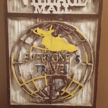 Wood Sign Decor Vintage Everyones Travel Village Mall Wall Hanging Sign Home