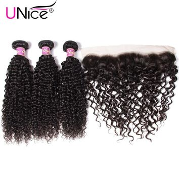 Unice Hair Curly Brazilian Hair Weave Bundles With Pre Plucked Lace Frontal 4 PCS Human Hair Extension Free Part Remy Hair Weave