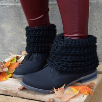 Whiskey Cabin Black Sweater Top Boot