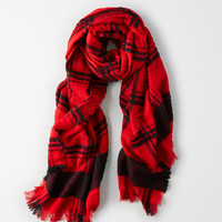 AE Buffalo Boucle Plaid Scarf, Red