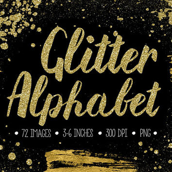 Gold Glitter Alphabet Clipart. Sparkly Letters, Numbers, Symbols. Hand Written Metallic Brush Script. Gold Font for Wedding - 300dpi - PNG -