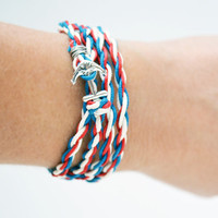 Nautical Jewelry, Silver Boat Anchor Charm, Wrap Bracelet, Cotton Wrist Wrap, Stackable Bracelet, Red White Blue, Patriotic, Fourth of July