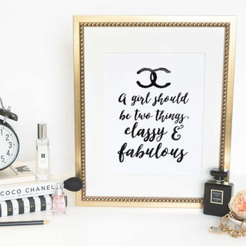 Keep your heels, head & standards high Inspirational Print Coco Chanel Poster Coco Chanel Quote Typography Quote Home Motivational Quote Art