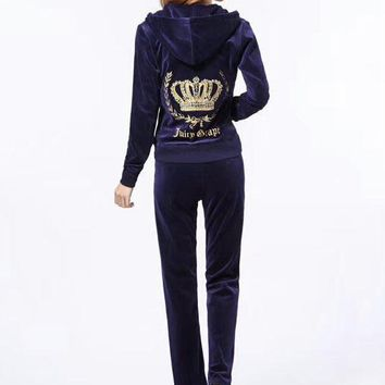 Juicy Couture Fashion Casual Long Sleeve Zipper Hoodie Long Pants J Velvet Two Piece Set Dark blue G-ALNZ