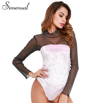 Simenual Patchwork mesh velvet bodysuit women clothing sexy hot fitness body jumpsuits long sleeve hollow out pink bodysuits