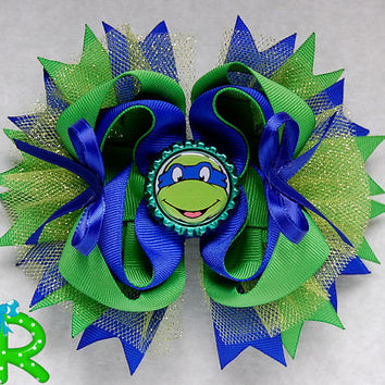Ninja turtles Hair Bow, Leonardo boutique bow,TMNT Staked Hair Bow ,Blue Ninja layered bow