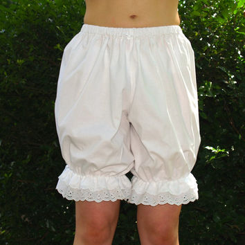 White cotton eyelet lace bloomers with satin bows, custom sized, Victorian and lolita style, pantaloons, womens