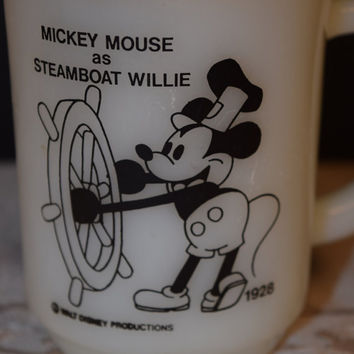 Mickey Mouse Pepsi Mug Vintage Steamboat Willie Cup Walt Disney Collectible Cup Pepsi Collectible Mug Anchor Hocking Mickey Mouse