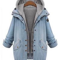 Blue and Gray Buttoned Denim Coat with Hooded Vest