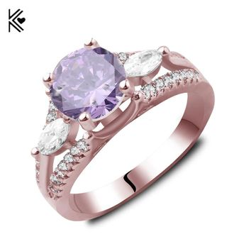 Rose Gold Filled Ring Fashion Jewelry Crystal Purple/White Zircon Ring Vintage Wedding Engagement Rings For Men And Women Anel