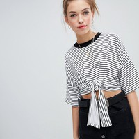Wednesday's Girl cropped t-shirt with tie front in stripe at asos.com
