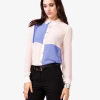Colorblocked Chiffon Shirt
