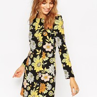 ASOS Shift Dress with Long Sleeves in 60s Floral Print