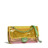 Flap Bag, pvc, lambskin & silver-tone metal , pink & yellow - CHANEL