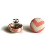 Peach Pink, Fabric Covered Button Earrings, Chevron Earring, Earrings Sensitive Ears, KAYEganda, Geometric Earrings, Fabric Earrings