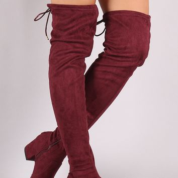 Qupid Suede Drawstring Tie Block Heeled Over-The-Knee Boots