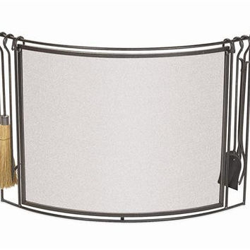 Pilgrim bowed fireplace screen with tools, vintage iron finish. (MSRP $419.00), Free Shipping