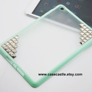 iPad mini case  Silver Pyramid Studded on Mint by CaseCastle