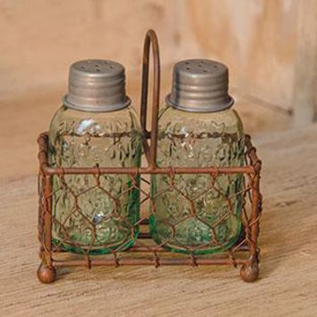 Mason Jar Salt & Pepper Shakers Set