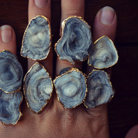 XMAS IN JULY Mushroom Druzy Rings /// Electroformed Gemstones /// Gold