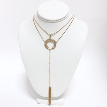 Crescent Diamond Moon & Tassel Layered Necklace in Gold