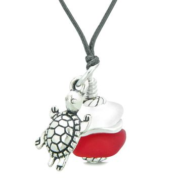 Sea Glass Icy Frosted Waves Lucky Turtle Royal Red White Positive Energy Amulet Adjustable Necklace