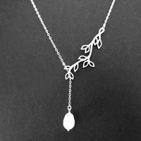 Pearl tree necklace, branch lariat, tree, bridal, wedding gift, bridesmaids jewelry, modern, christmas gift