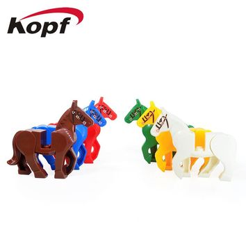 KF1049 Building Blocks Horse With Red Blue Green Yellow Brown White Lord of the rings Dolls Bricks Collection Toys for children