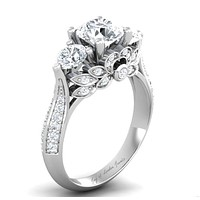 A Museum Perfect 2CT Russian Lab Diamond Floral Engagement Ring