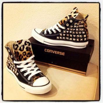 CREYUG7 Custom studded black Converse Chuck Taylors by KillerCreationz